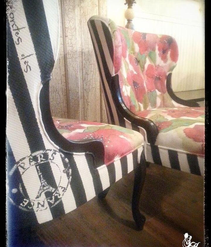 see how she saved these disgusting old velvet chairs, chalk paint, painted furniture, reupholster