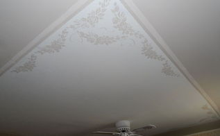 stenciled ceiling, bedroom ideas, painting, wall decor