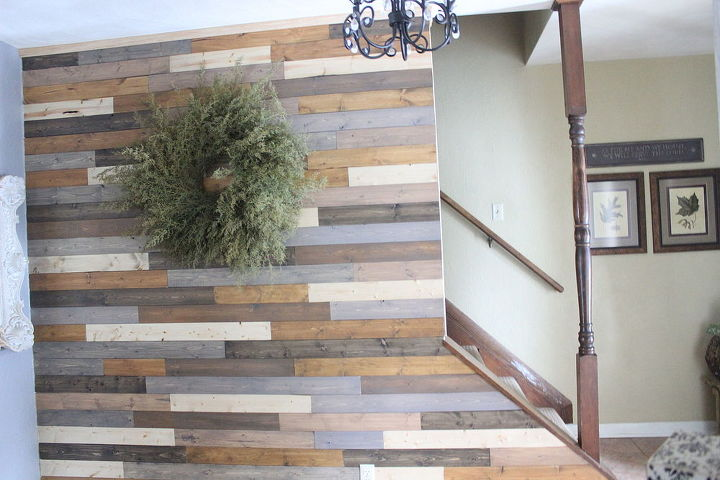 Painted Wood Plank Wall Foyer Painting Repurposing Upcycling Decor Woodworking