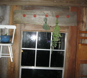I Hung The Chairs, Folding Chairs And Folding Footstools With Giant 14 16  Penny Nails On This Porch And Another Which Have Wood Siding Walls.