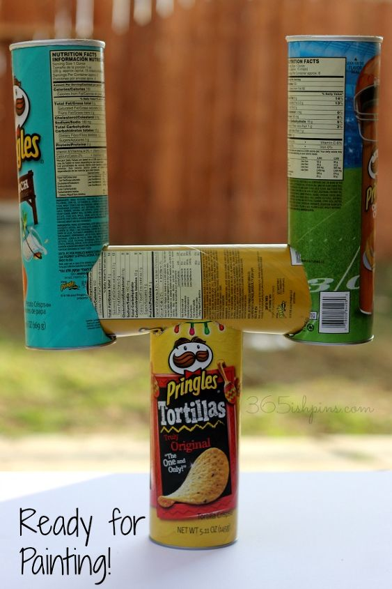 repurposed pringles to super bowl decor, crafts, repurposing upcycling