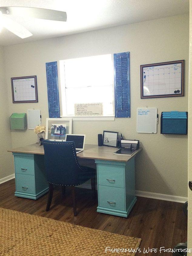 diy filing cabinet desk, diy, home decor, home office, painted furniture