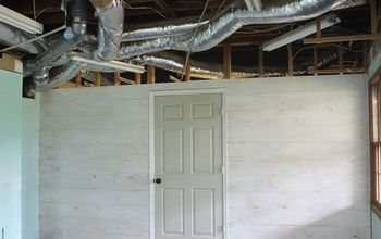 whitewashed plywood plank wall, basement ideas, woodworking projects