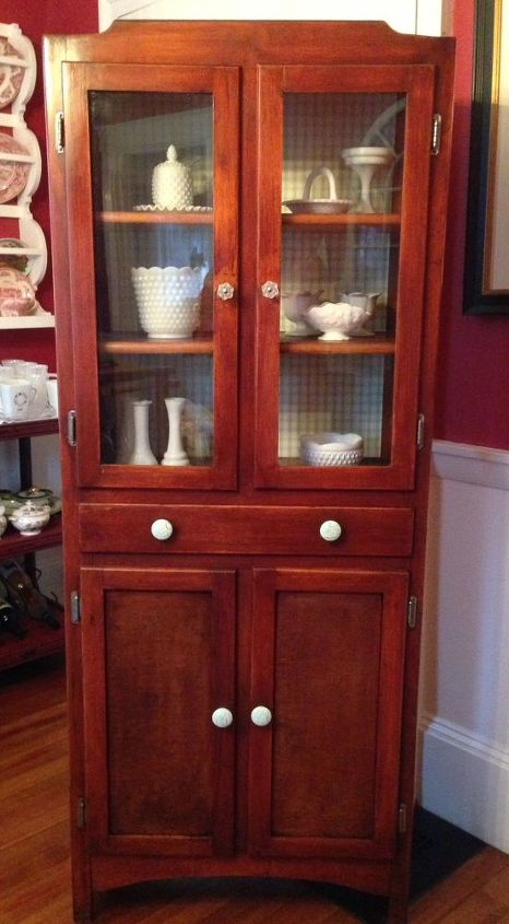 restoring a vintage country hutch without annie sloan paint, painted furniture, The country cupboard all prettied up