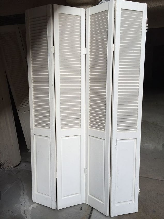 Repurposed Folding Louvered Closet Doors To Clothes And Shoe Cabinet