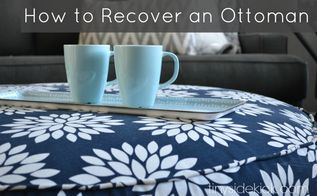 diy reupholstered ottoman, living room ideas, repurposing upcycling, reupholster