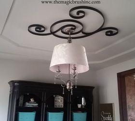 pottery barn wall art turned ceiling medallion, dining room ideas, repurposing upcycling, wall decor