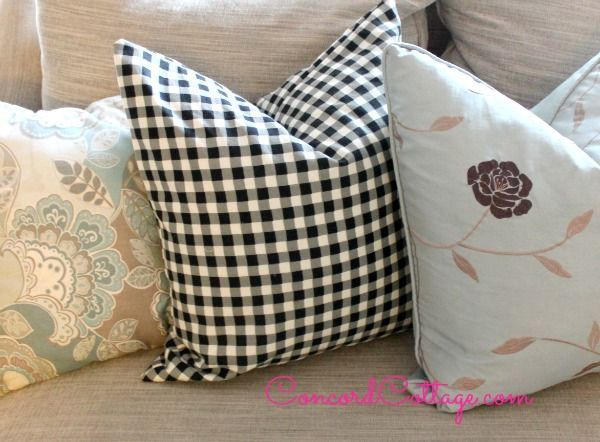 black n white check pillows, crafts, how to, living room ideas, reupholster