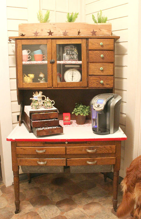 transform an antique cabinet into a coffee bar, kitchen cabinets, kitchen  design, repurposing - Transform An Antique Cabinet Into A Coffee Station Hometalk