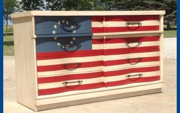 they had the best idea for this wavy dresser rescue, painted furniture, patriotic decor ideas, seasonal holiday decor