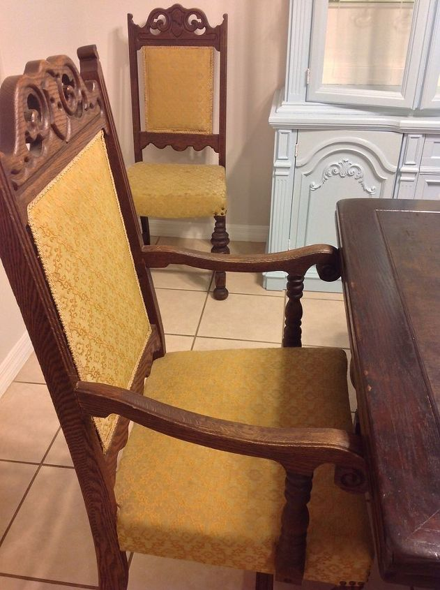 q upholstery ideas for dining chairs, home decor, painted furniture, reupholster, The upholstery is very stained and doesn t go with the blues in my decor