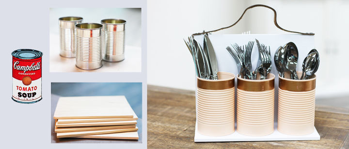 repurposed soup cans to diy kitchen caddy, crafts, how to, repurposing upcycling