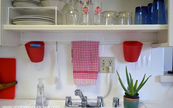 Small Kitchen Ideas: Tension Rod Above the Sinks and Open Shelving