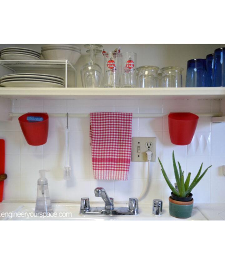 her brilliant idea using a dollar store tension rod, kitchen design, organizing, shelving ideas, urban living