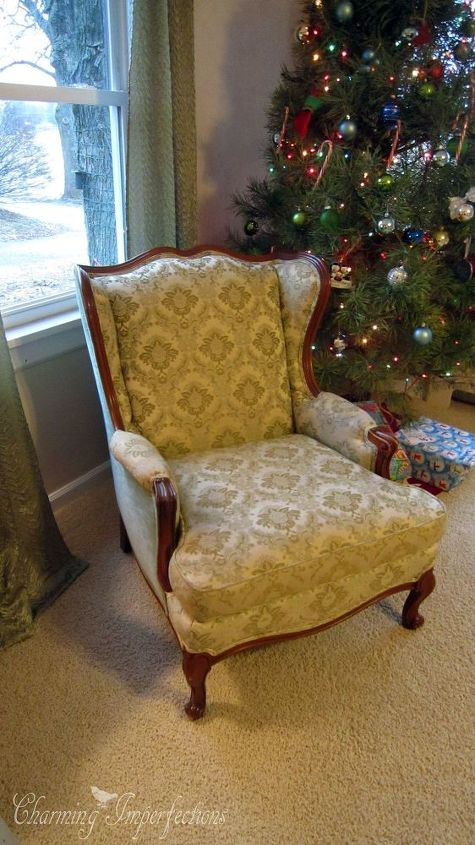 no sew wingback chair re upholster hometalk