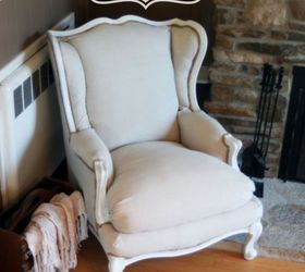 No Sew Wingback Chair Re Upholster, Painted Furniture, Reupholster