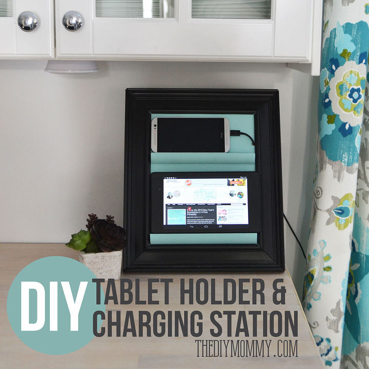 a counter top charging station tablet holder from a picture frame, crafts, organizing, repurposing upcycling