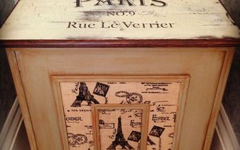 a paris inspired painted hamper ooh la la, chalk paint, how to, laundry rooms, painted furniture, repurposing upcycling