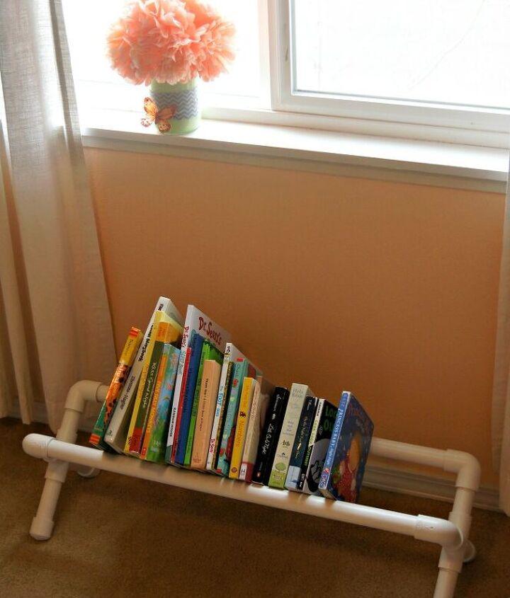 diy pvc pipe book storage, crafts, repurposing upcycling, storage ideas