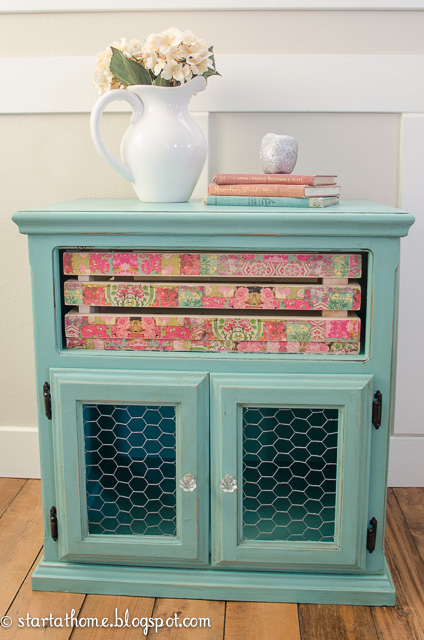 Old Tv Stand Gets A Makeover You D Never Expect Decoupage Painted Furniture