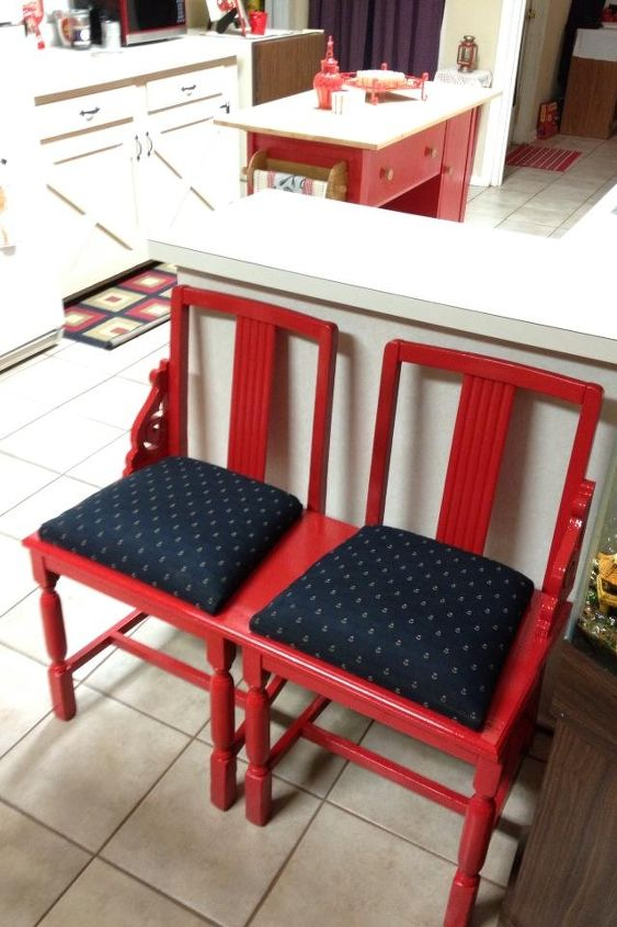 repurposed old unused and dirty chairs to cool bench