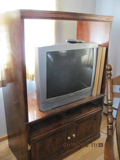 q repurposing a tv stand to a window bench, diy, how to, painted furniture, repurposing upcycling, It s almost 6 ft high and the wood is really good Door work and nice storage inside