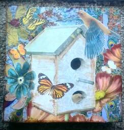 Butterfly On Birdhouse.
