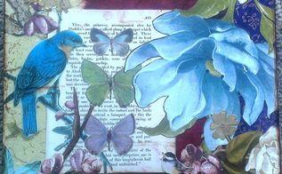 mixed media on artist panel, crafts, decoupage, wall decor, Blue Bird Butterflies