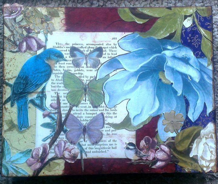 Blue Bird & Butterflies.