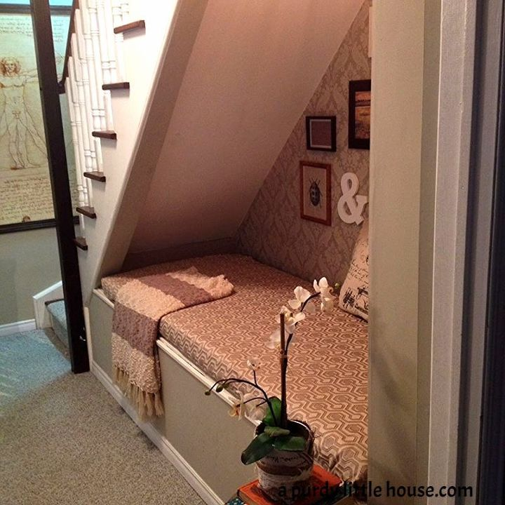 under the stairs book nook, basement ideas, home improvement, repurposing  upcycling, shelving