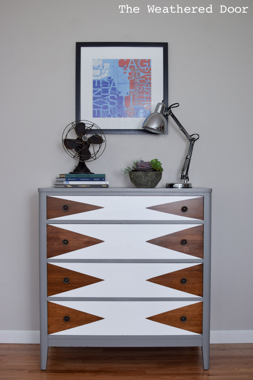 before after modern triangle dresser makeover, how to, painted furniture