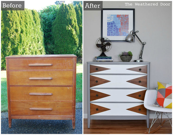Before After Modern Triangle Dresser Makeover How To Painted Furniture