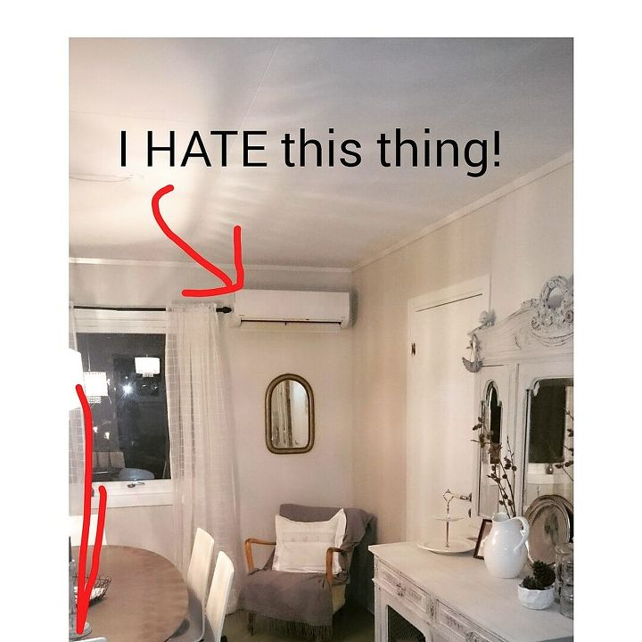 q how to hide and cover a heat pump in the dining room, home decor, home improvement, how to, wall decor