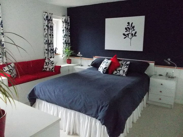 Bedroom Makeover In Navy Blue, White And Red