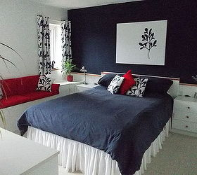 Beau Bedroom Makeover In Navy Blue White And Red, Bedroom Ideas, Painting,  Reupholster,