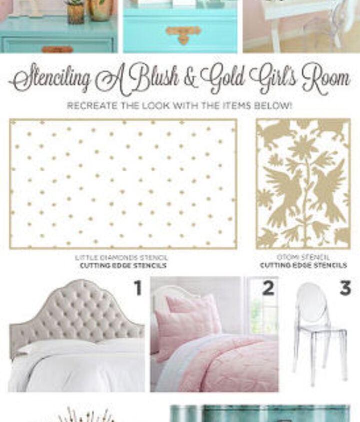 stenciling a blush gold girl s room, bedroom ideas, paint colors, painting, wall decor