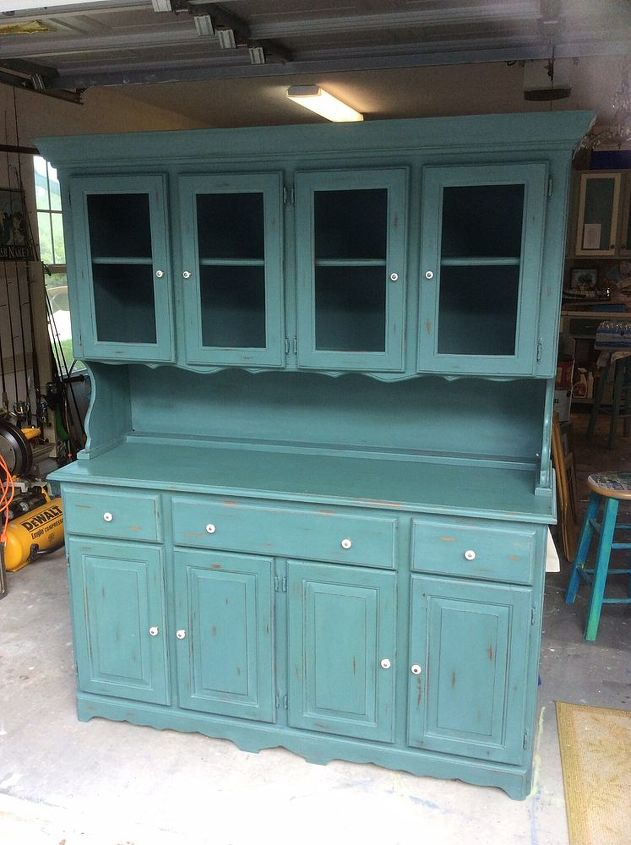 vintage green distressed hutch, painted furniture - Vintage Green Distressed Hutch Hometalk