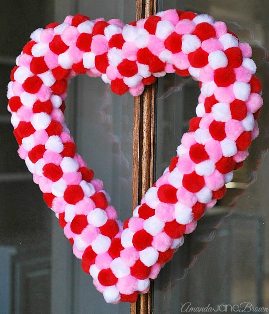Valentine S Day Heart Wreath With Pom Poms Kids Crafts