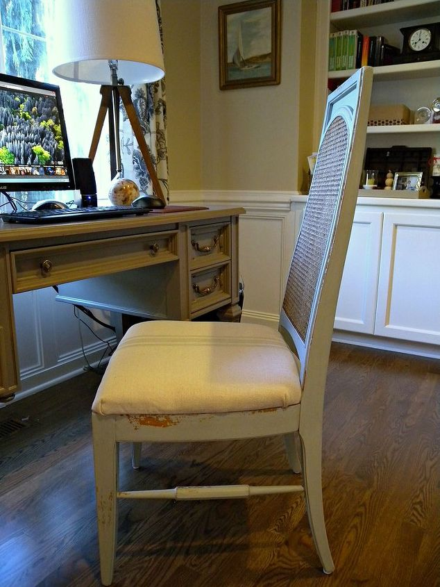 thrift score chair makeover with milk paint and a drop cloth, painted furniture, reupholster