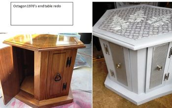 1970 s octagon end table redo, chalk paint, decoupage, painted furniture, repurposing upcycling