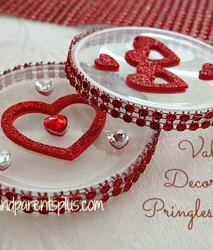 valentine decorations with pringles lids reuse recycle craft, crafts, repurposing upcycling, seasonal holiday decor, valentines day ideas