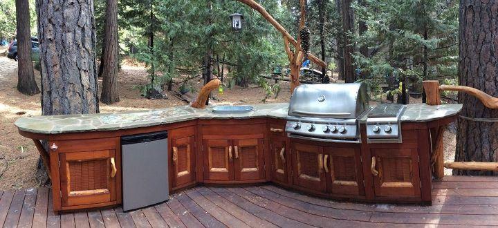 rustic outdoor kitchen, outdoor furniture, outdoor living, Sticks n stones never felt so good