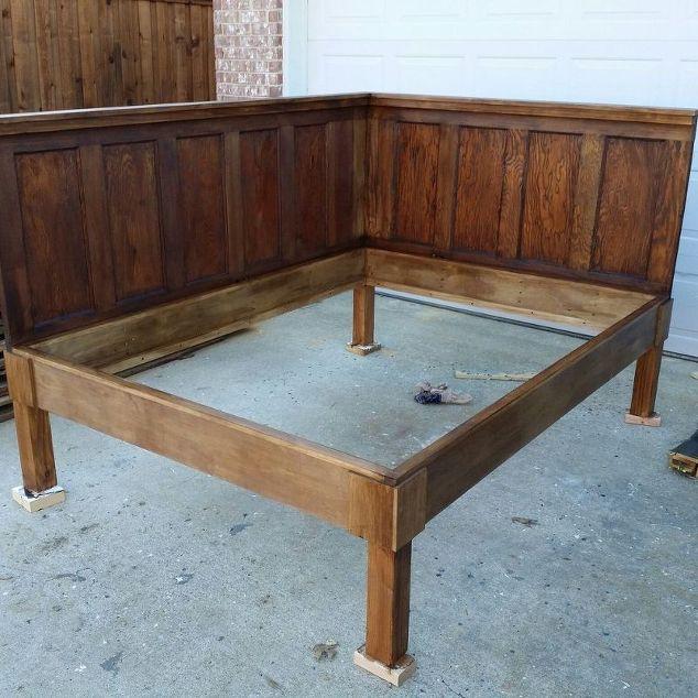 New Corner Queen Size Bed - Using 2 Old 5 Panel Doors - Vintage  SC41