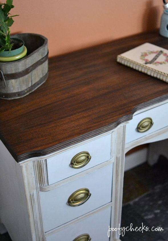 vintage desk redo, painted furniture