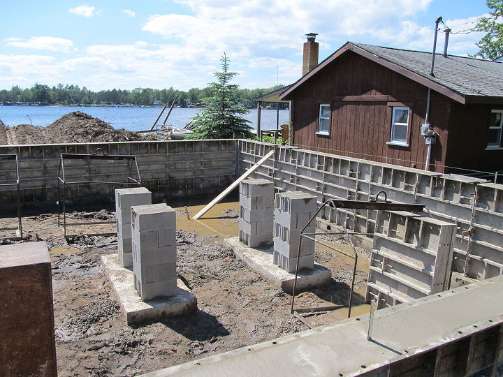 diy building a lake cottage, architecture, concrete masonry, home decor, roofing