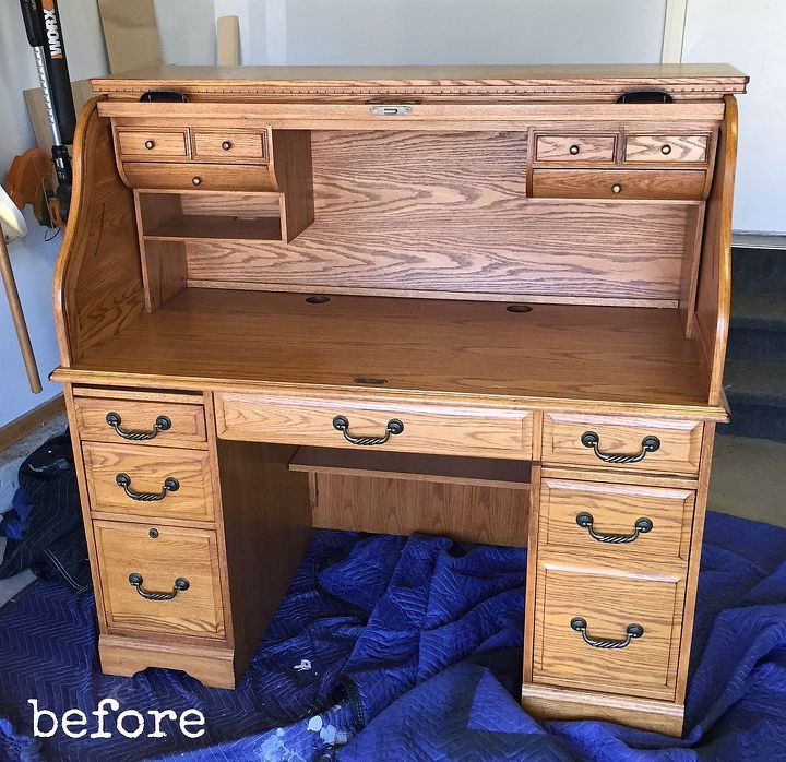 blue painted oak desk hometalk