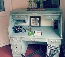 blue painted oak desk, painted furniture