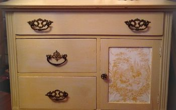 Vintage French Toile Inspired Kitchen Commode