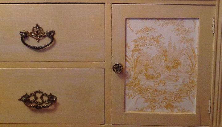 vintage french toile inspired kitchen commode, decoupage, how to, painted furniture