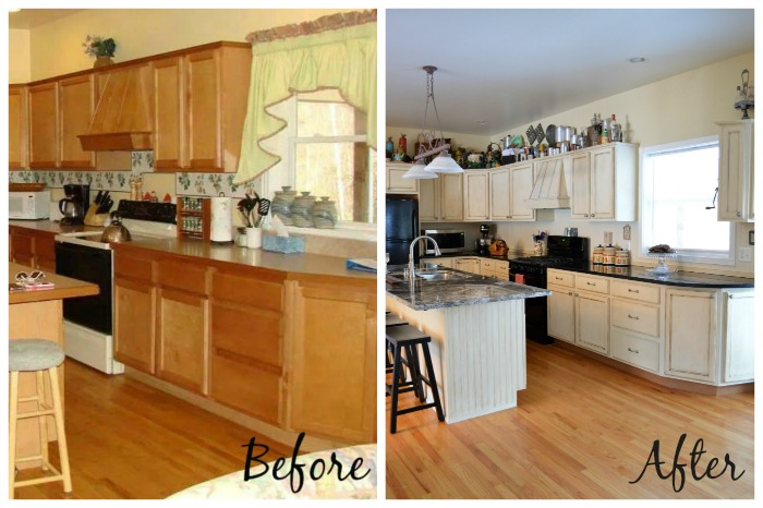 Kitchen makeover using chalk paint by annie sloan hometalk for Can you paint granite countertops